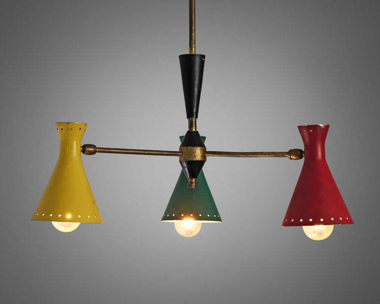 Mid-Century Modern Richly Patinated Italian Chandelier with Colorful Shades For Sale