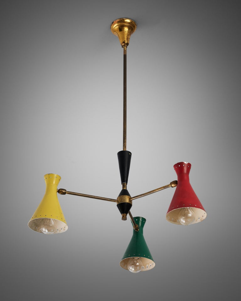 Richly Patinated Italian Chandelier with Colorful Shades For Sale 1