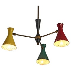 Richly Patinated Italian Chandelier with Colorful Shades