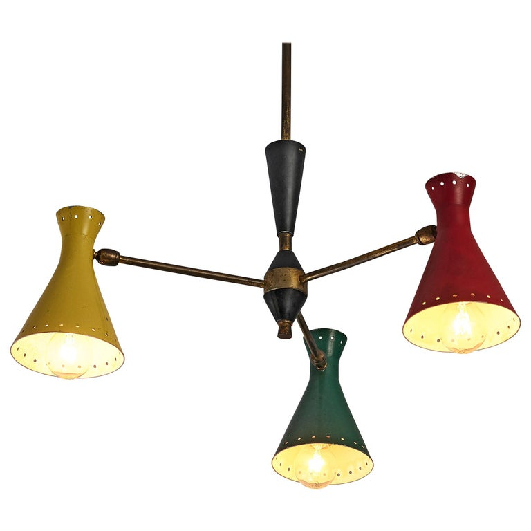 Richly Patinated Italian Chandelier with Colorful Shades For Sale