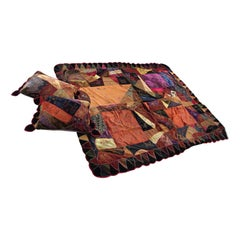 Richly Patterned Antique Crazy Quilt and Two Pillows
