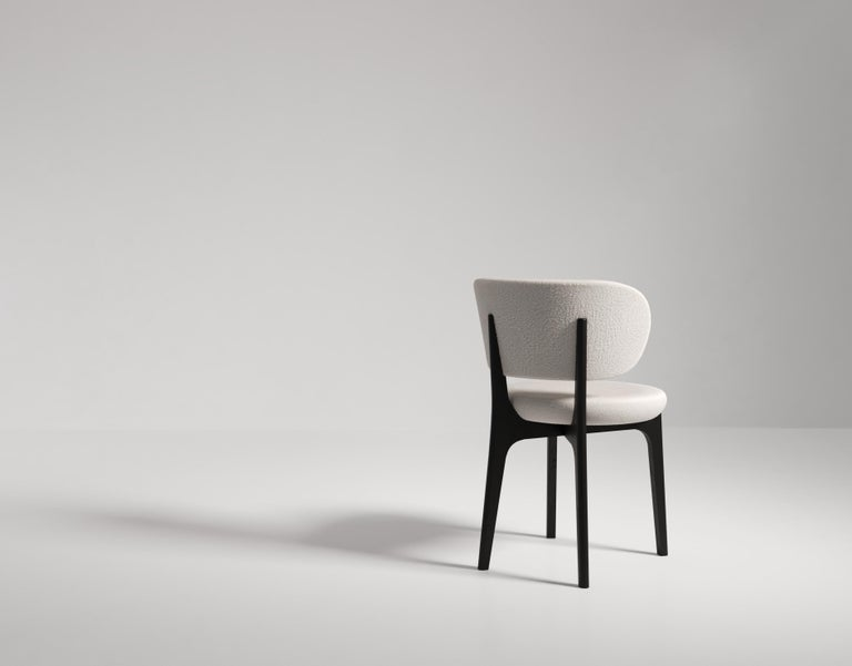 Modern Richmond Contemporary Dining Chair in Wood and Fabric by Artefatto Design Studio For Sale