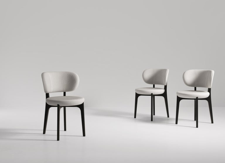 Italian Richmond Contemporary Dining Chair in Wood and Fabric by Artefatto Design Studio For Sale