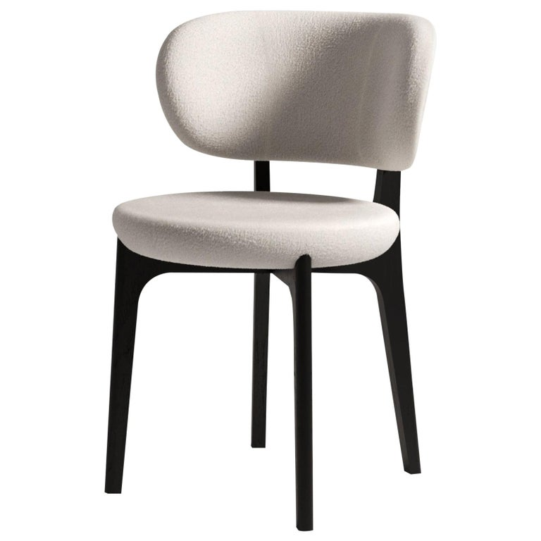 Richmond Contemporary Dining Chair in Wood and Fabric by Artefatto Design Studio For Sale