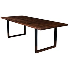 Richmond Dining Table, by Ambrozia, Solid Walnut & Black Steel (96L)