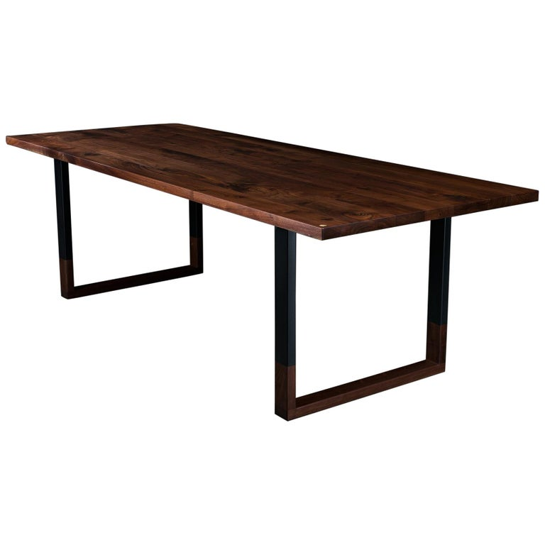 Richmond Dining Table, by Ambrozia, Solid Walnut & Black Steel (96L) For Sale