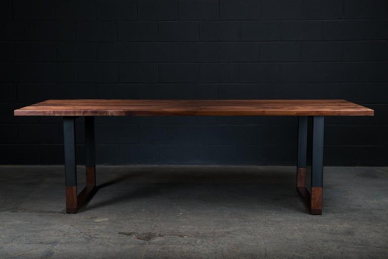 Contemporary Richmond Table and 8 Shaker Chairs in Walnut, Leather & Cow Hide For Sale