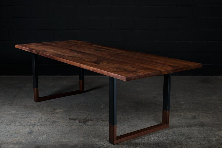 Steel Richmond Table and 8 Shaker Chairs in Walnut, Leather & Cow Hide For Sale