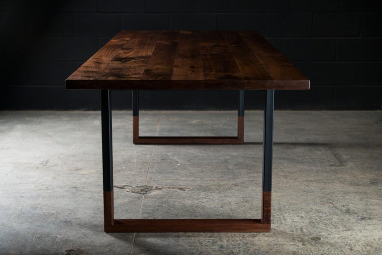 Richmond Table and 8 Shaker Chairs in Walnut, Leather & Cow Hide For Sale 1