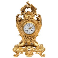 Richond, Rocaille Style Clock in Gilt Bronze, before 1873
