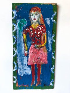 Beautiful Woman in a Pink Skirt on Found Wood//Folk Art