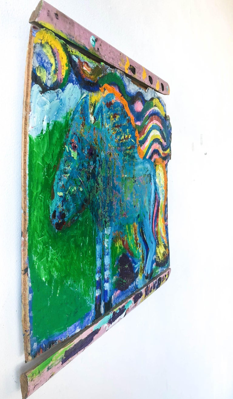 Blue Sparkly Horse on Found Wood//Folk Art - Painting by Rick Borg