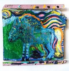 Blue Sparkly Horse on Found Wood//Folk Art