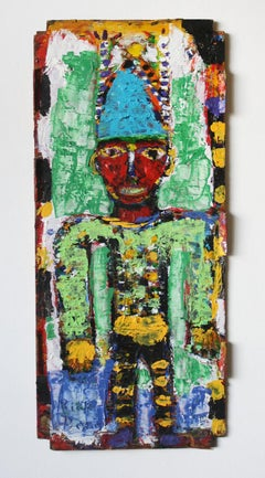 Clown with Antennas on Found Wood//Folk Art