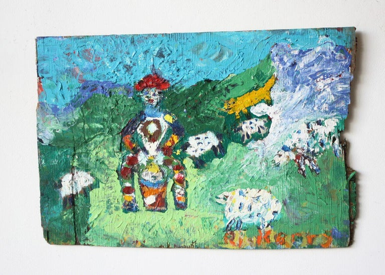 Rick Borg Drummer With Sheep Painting Im Angebot Bei 1stdibs