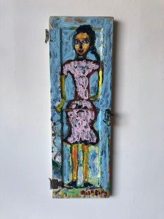 She Has a Dark Braid and a Pink Dress on Found Wood//Folk Art
