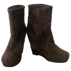 Rick Owen Light Brown Slouchy Textured Cowhide Ankle Wedge Platform Booties