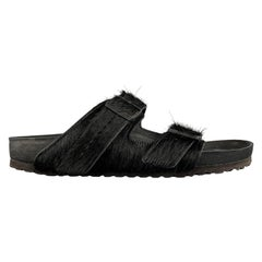 RICK OWENS BIRKENSTOCK Size 11 Black Textured Pony Hair Belted Sandals