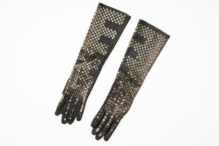 Rick Owens Black Dark Dust Sphinx Long Leather Sequins Gloves, Fall 2015 For Sale 6
