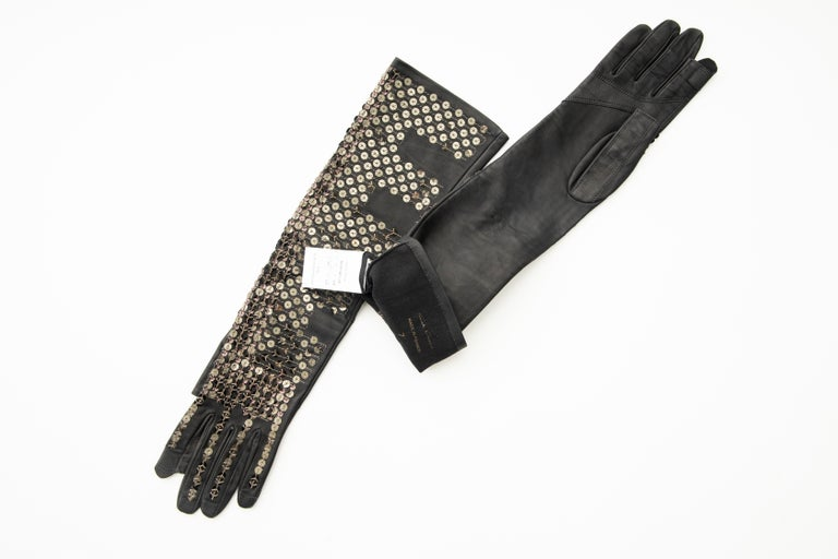 Rick Owens Black Dark Dust Sphinx Long Leather Sequins Gloves, Fall 2015 For Sale 7