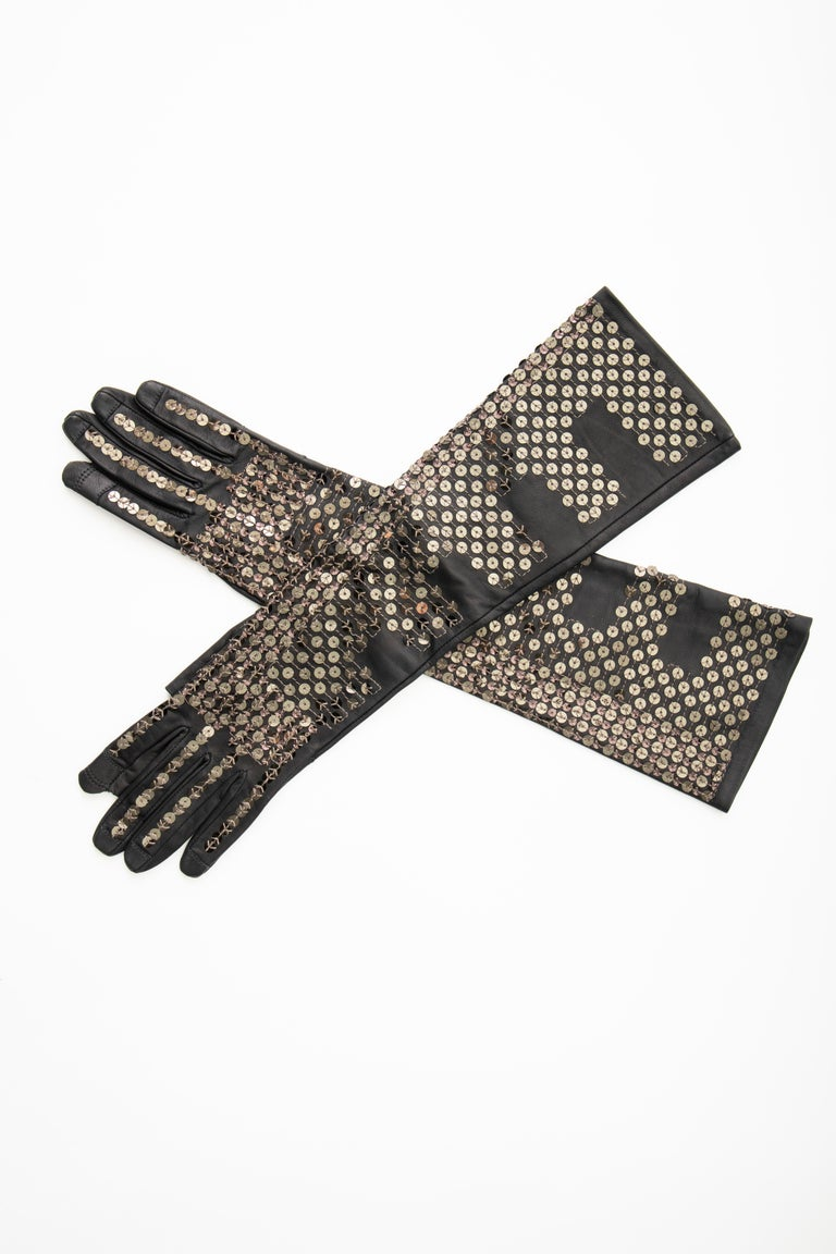 Rick Owens Black Dark Dust Sphinx Long Leather Sequins Gloves, Fall 2015 In Excellent Condition For Sale In Cincinnati, OH