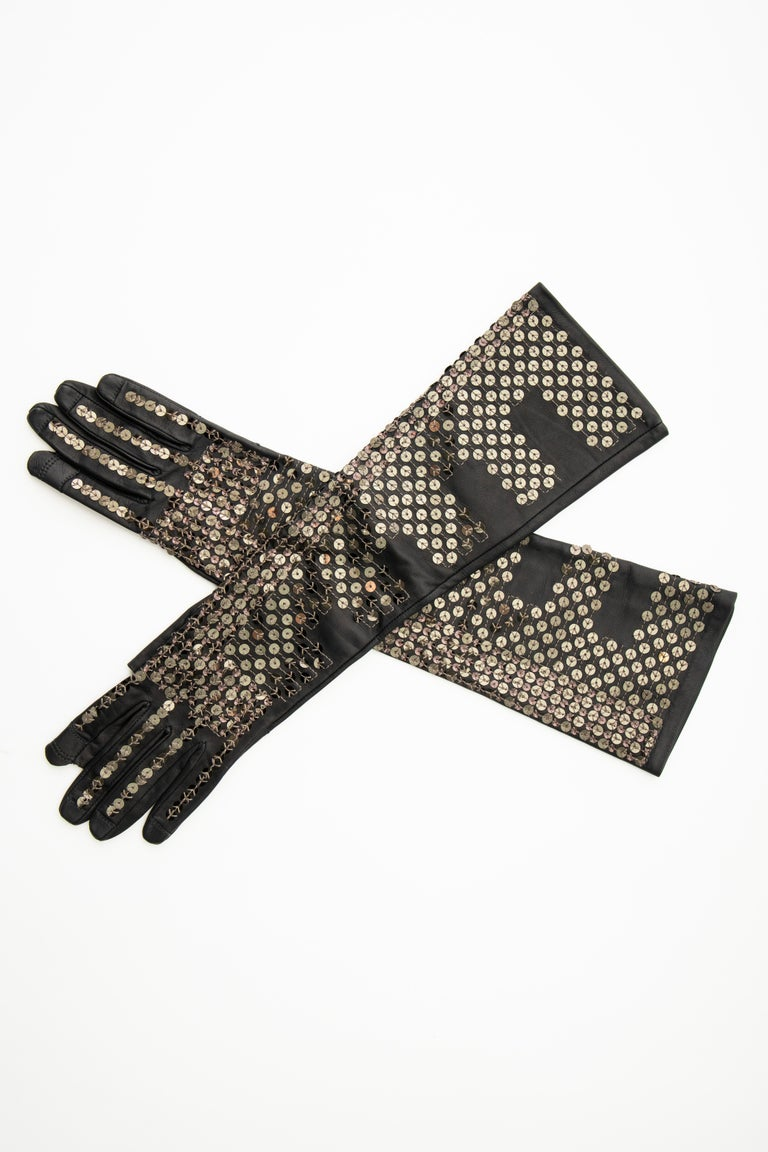 Women's or Men's Rick Owens Black Dark Dust Sphinx Long Leather Sequins Gloves, Fall 2015 For Sale