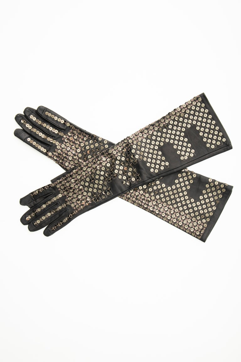 Rick Owens Black Dark Dust Sphinx Long Leather Sequins Gloves, Fall 2015 For Sale 1