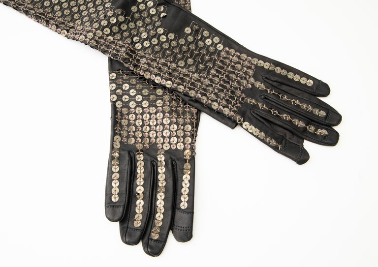 Rick Owens Black Dark Dust Sphinx Long Leather Sequins Gloves, Fall 2015 For Sale 2