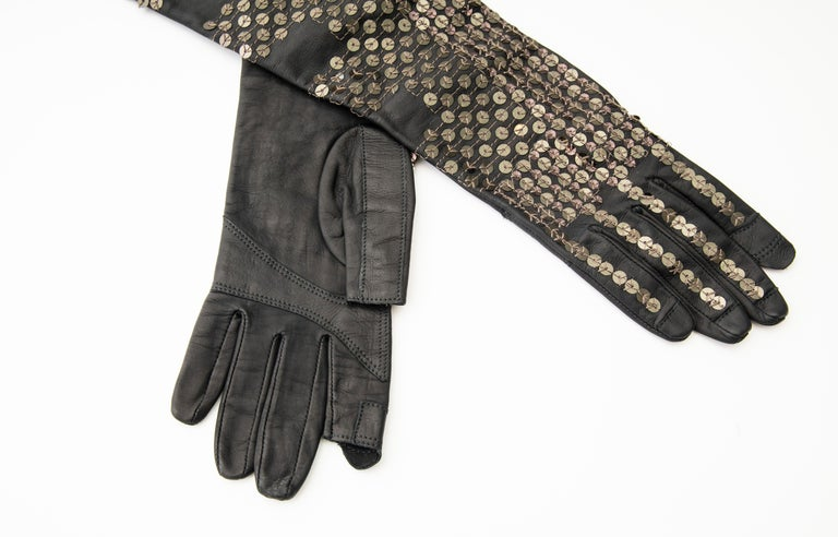 Rick Owens Black Dark Dust Sphinx Long Leather Sequins Gloves, Fall 2015 For Sale 3
