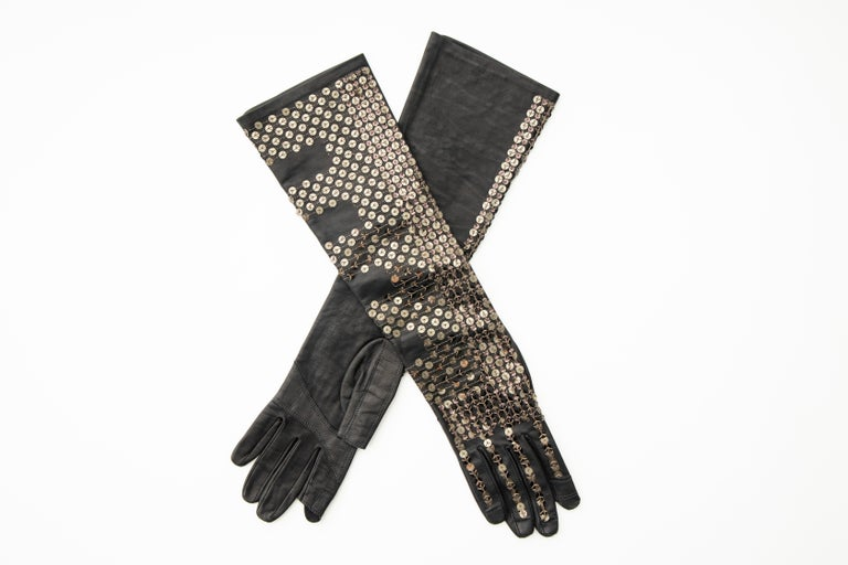 Rick Owens Black Dark Dust Sphinx Long Leather Sequins Gloves, Fall 2015 For Sale 4