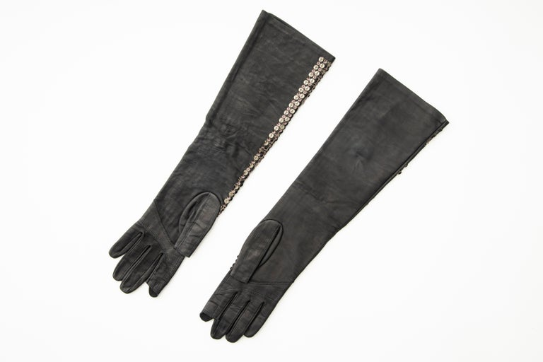 Rick Owens Black Dark Dust Sphinx Long Leather Sequins Gloves, Fall 2015 For Sale 5