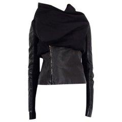 RICK OWENS black leather & alpaca DRAPED BIKER Jacket 8 S