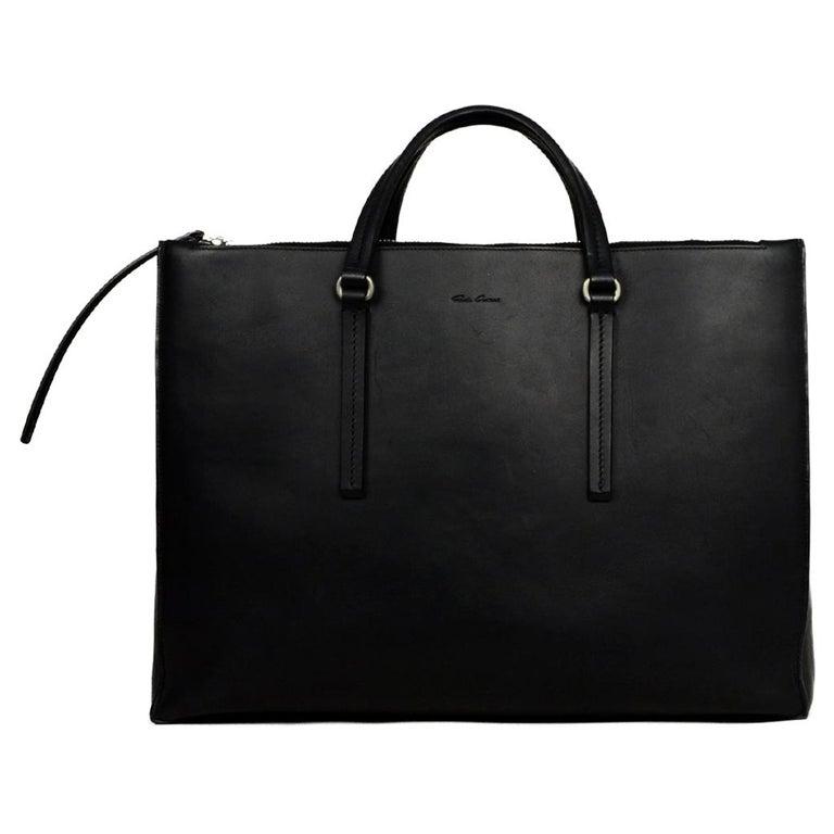 Rick Owens Black Leather Open Tote Bag W Zipper