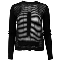 Rick Owens Black Mesh Stripe Top