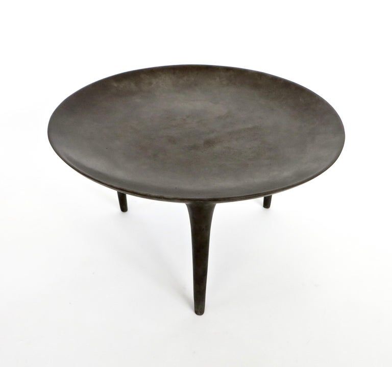 Modern Rick Owens Cast Bronze Low Brazier Side Table Nitrate Patina