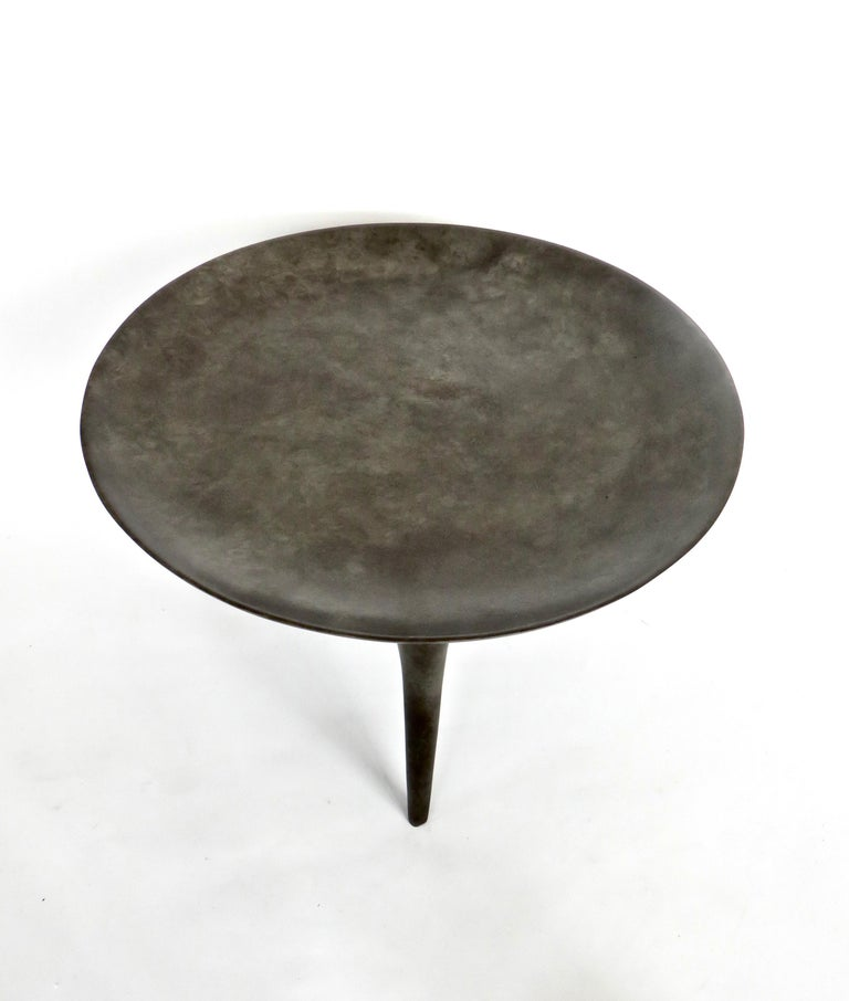 French Rick Owens Cast Bronze Low Brazier Side Table Nitrate Patina