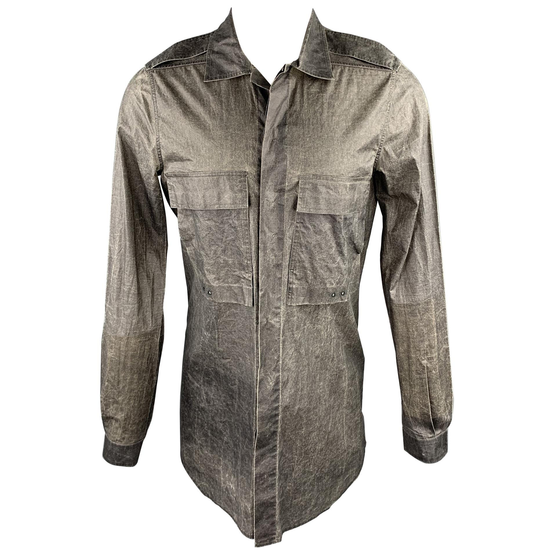 RICK OWENS CYCLOPS S/S 2016 Size M Charcoal Distressed Cotton Long Sleeve Shirt
