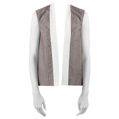 Rick Owens Darkdust Brown Cotton Asymmetric Contrast Trim Sleeveless Jacket S