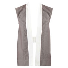 Rick Owens Darkdust Brown Cotton Asymmetric Hem Contrast Sleeveless Jacket S