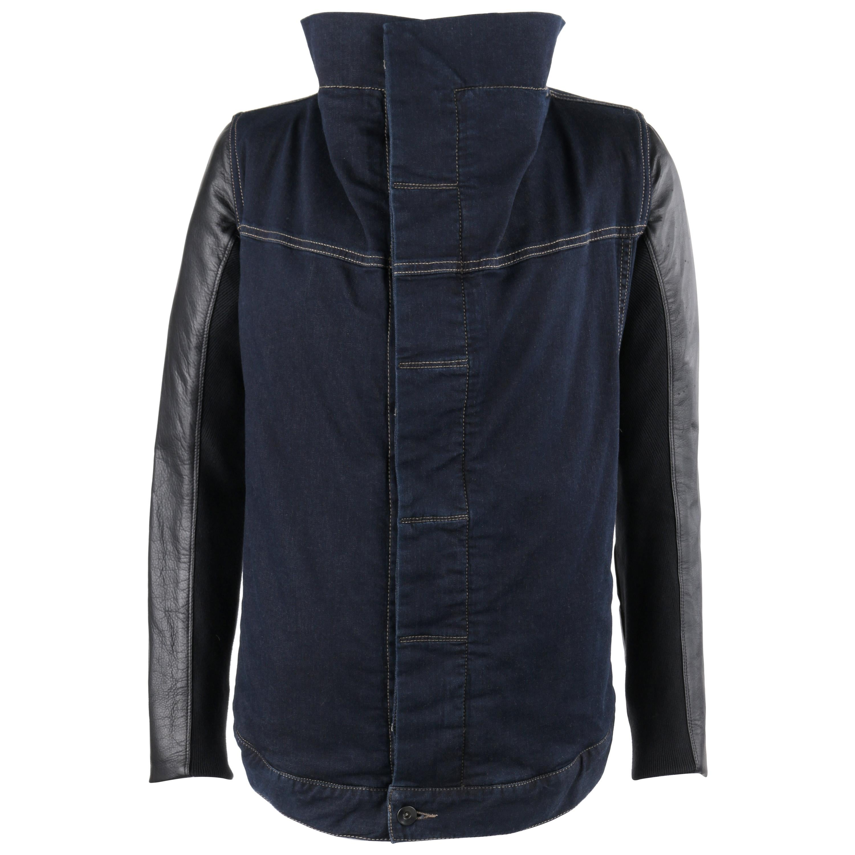 "RICK OWENS Drkshdw Wrapped ""Robot"" Denim Leather Moto Asymmetrical Jacket"