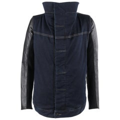 "RICK OWENS Drkshdw Wrapped ""Robot"" Denim Leather Moto Asymmetrical Jacket"