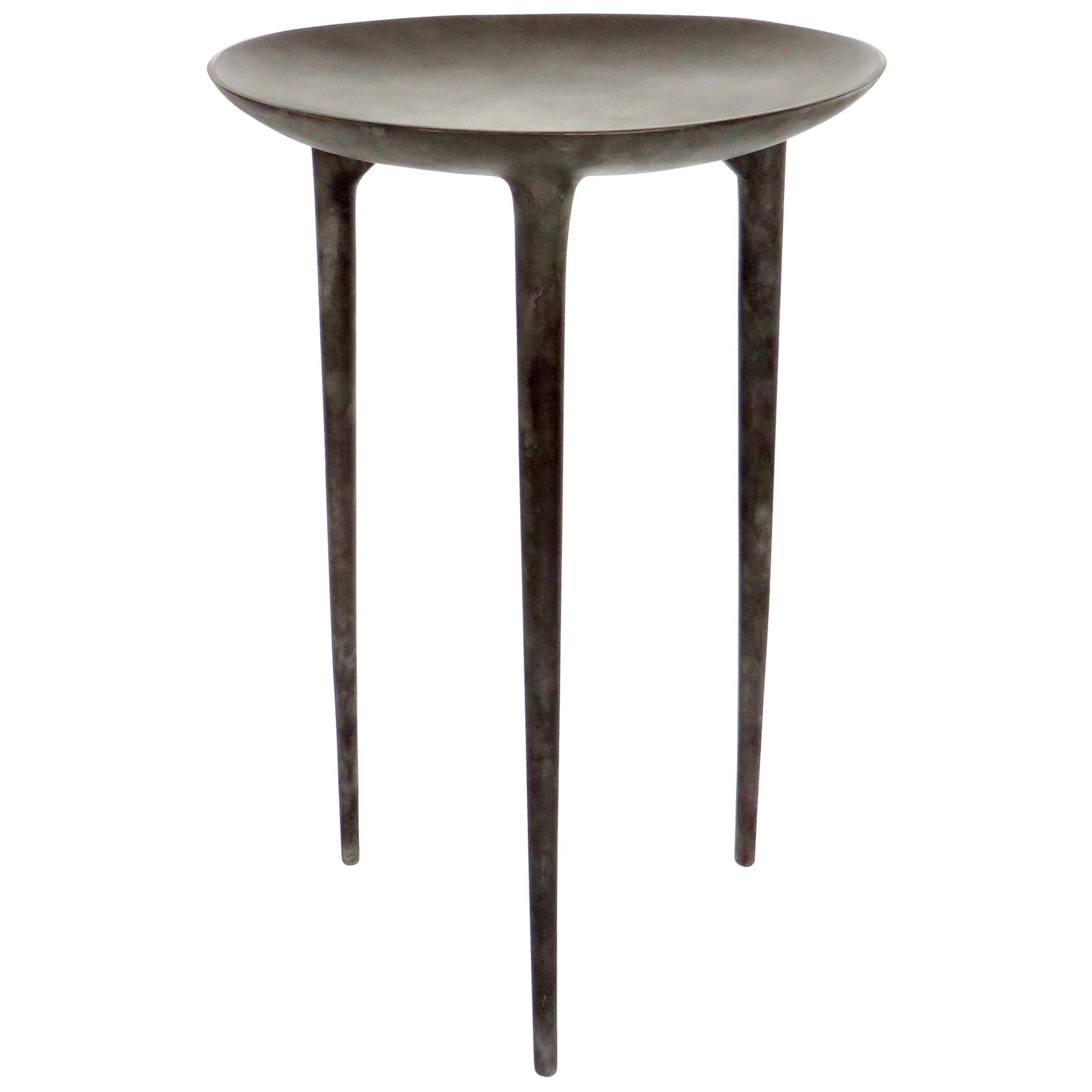 Rick Owens French Cast Bronze Tall Brazier Side Table Nitrate Patina
