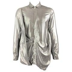 RICK OWENS FW19 Size 8 Silver Viscose Blend Hidden Buttons Asymmetrical Shirt