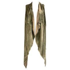 Rick Owens Green Olive Darkdust Velvet Vest Size 38