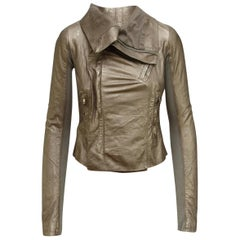 Rick Owens Metallic Gold Leather Jacket