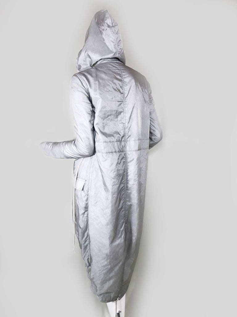 Rick Owens Silver Nylon Hooded Raincoat with Tails In Excellent Condition For Sale In San Francisco, CA