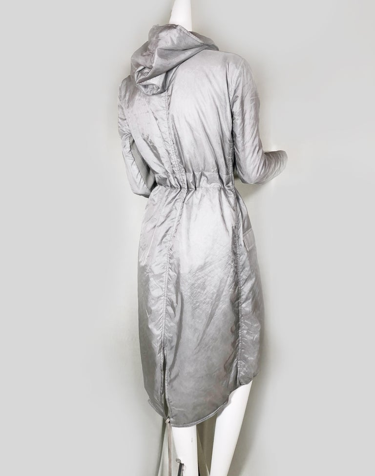 Women's or Men's Rick Owens Silver Nylon Hooded Raincoat with Tails For Sale