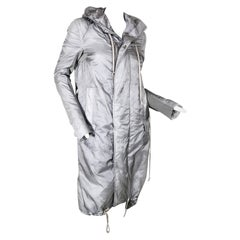 Rick Owens Silver Nylon Hooded Raincoat with Tails