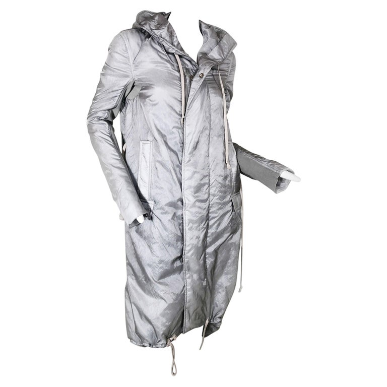 Rick Owens Silver Nylon Hooded Raincoat with Tails For Sale