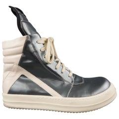 RICK OWENS Size 10 Slate Gray Metallic Leather Geobasket High Top Sneakers